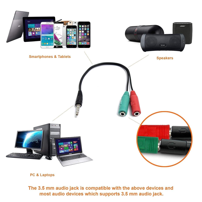 Conector Adaptador de Audio de Macho a Hembra para Auriculares y Micr/ófono Mobi Lock Cable Adaptador Audio de Varias Salidas de 3,5mm