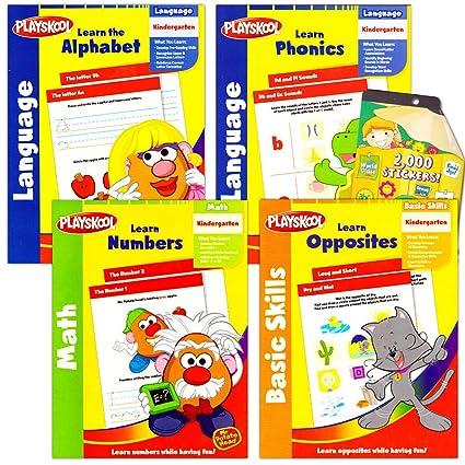 Playskool Kindergarten Workbooks Set -- 4 Learning Workbooks for  Kindergarteners and Reward Stickers (Reading, Math, ABC Writing, Opposites)