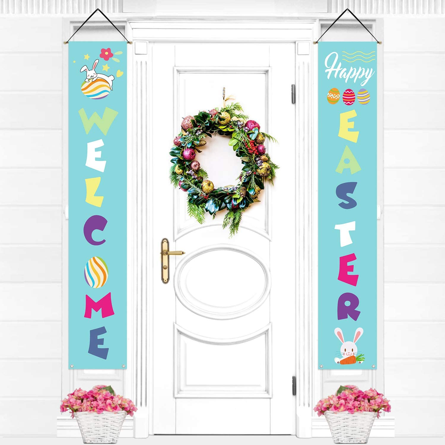 EAONE Easter Decorations Easter Porch Sign Vertical Welcome Easter Hanging Banner Easter Poster Door Decor for Home Indoor Outdoor Decoration, Blue