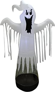 BZB Goods 8 Foot Tall Halloween Inflatable Floating White Ghost with LED Lights Outdoor Indoor Holiday Decorations Blow up Yard Giant Lawn Inflatables Home Family Outside Decor