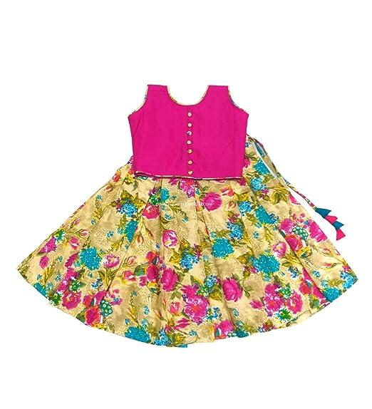 59fc697a284b4 Pattu Pavadai Floral Fancy Langa and Pink Crop Top for Baby Girls Kids