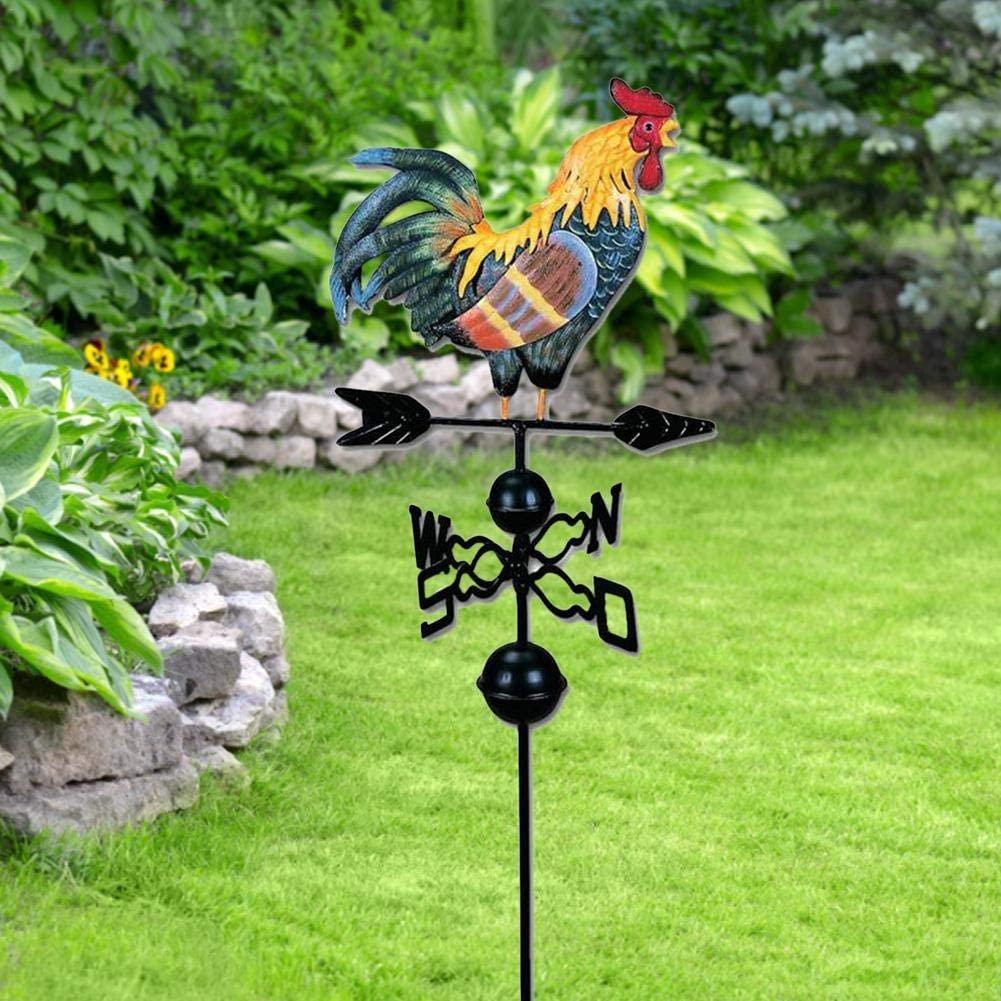 XIAOTIAN Weathervane Cast Iron Rooster For Garden Patio Yard Ornament Decoration Cockeral Weathervane Weathervane Metal Iron Cock Wind Vane Retro Weather Vane