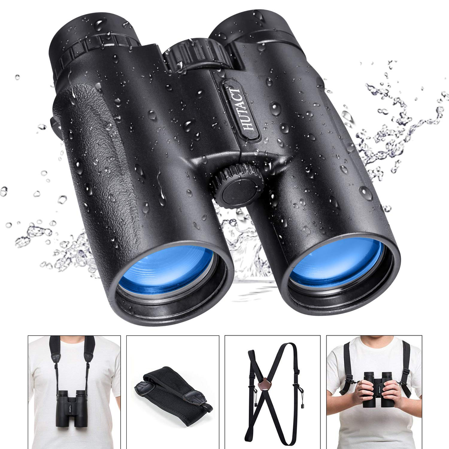 HUTACT Binoculars for Bird Watching, with Harness Strap and Carrying Bag, 10x42 High-Definition Optical Lenses, BAK4 Roof Prism, Binoculars Adults Compact for Hunting, Concerts and Outdoor Tourism by HUTACT