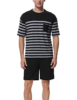 cfaf89045483f2 Aiboria Men s Short Pajama Set Cotton Summer Sleepwear Soft Striped Tops  and Solid Color Shorts Lounge