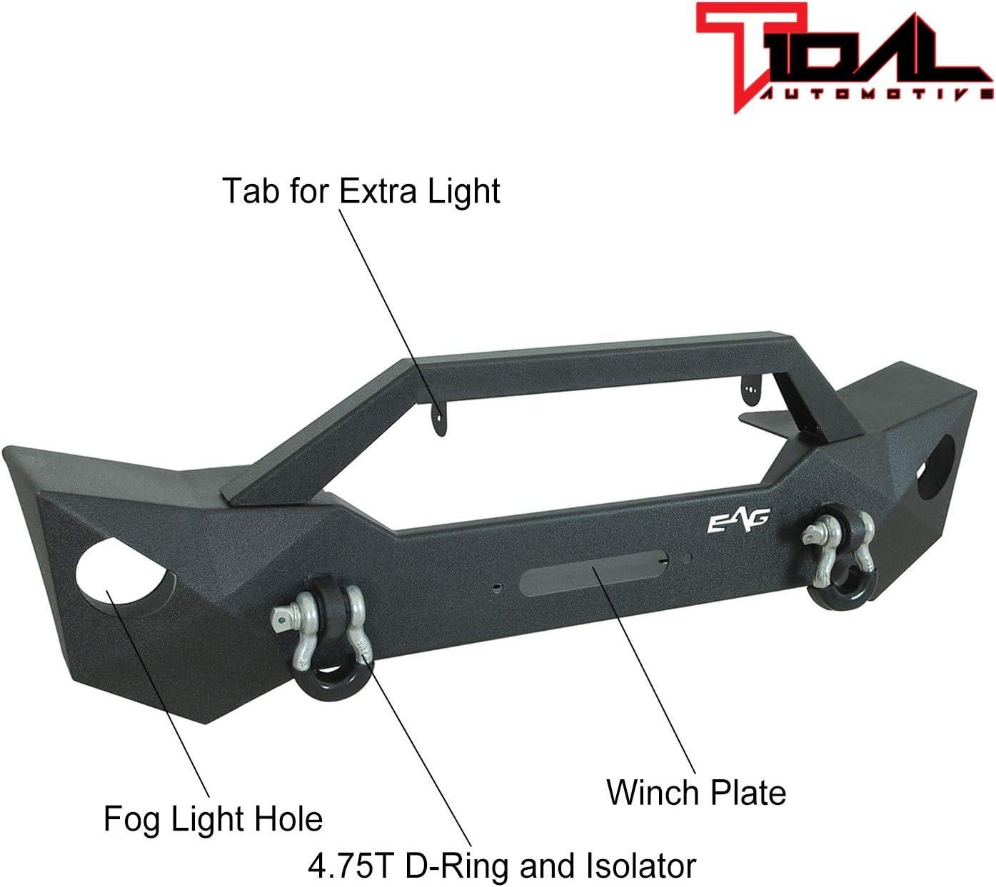 Tidal Steel Front Bumper with Fog Light Housing Fit for 18-20 JL Wrangler