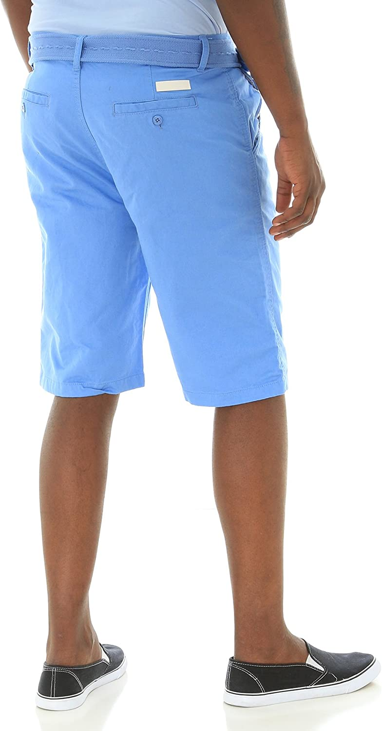WT02 Mens Basic Chino Shorts with Matching Belt in Solid Colors