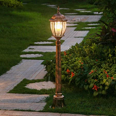 Ailtb Lámpara de jardín con luz exterior for poste Impermeable IP55 Linterna de vidrio de poste alto Lámpara tradicional Victoria Vintage Paisaje Lámpara de calle Patio Patio Camino Césped Columna Luz: Amazon.es: