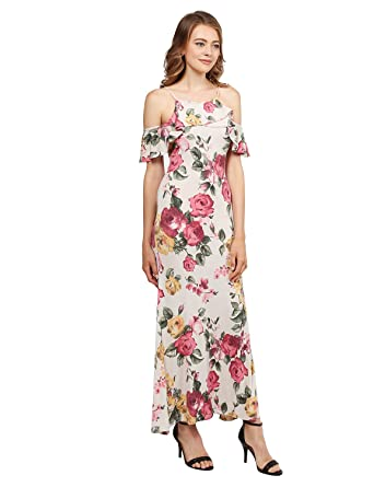 d1d6449958 Beach Wedding Guest Floral Ruffle Sleeve Maxi Dress Made in USA Taupe Size S  at Amazon Women's Clothing store:
