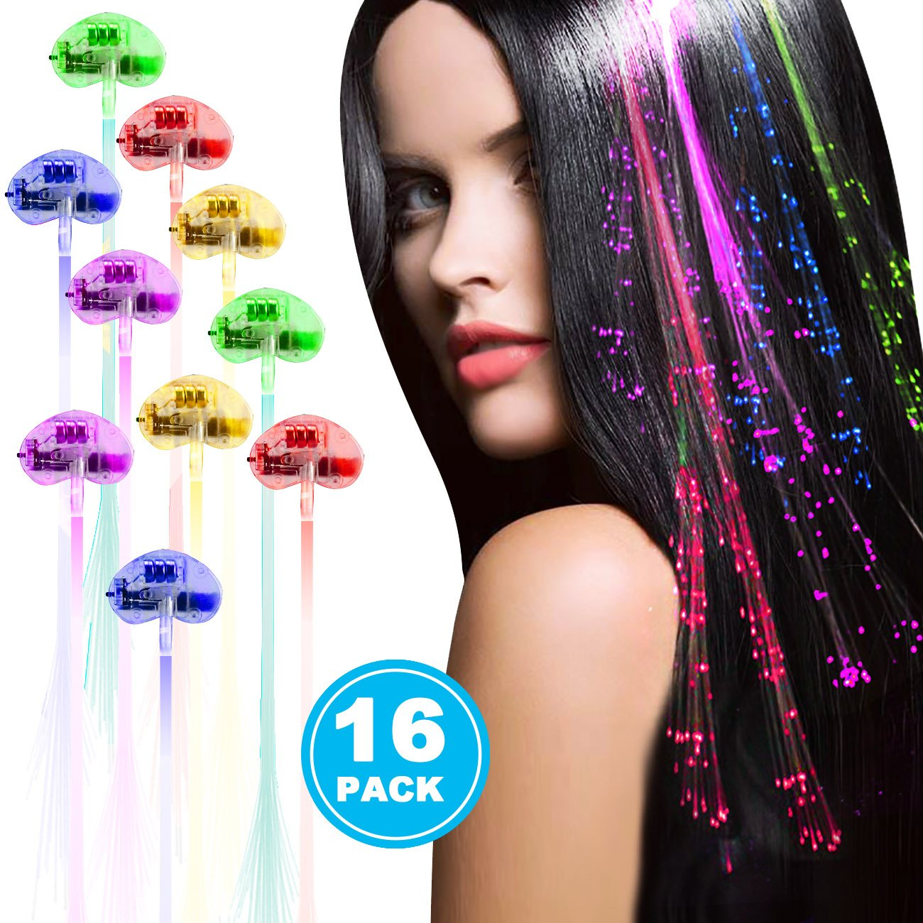 Acooe 16 Pack LED Lights Hair, Light-Up Fiber Optic LED Hair Barrettes Party Favors Party, Bar Dancing Hairpin, Hair Clip, Multicolor Flash Barrettes Clip Braid (16 pcs) X-Chiji