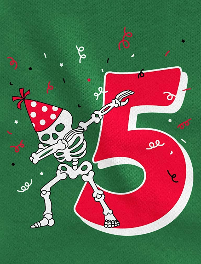 Tstars Dabbing Skeleton 5th Birthday Five Year 3//4 Sleeve Baseball Jersey Toddler Shirt