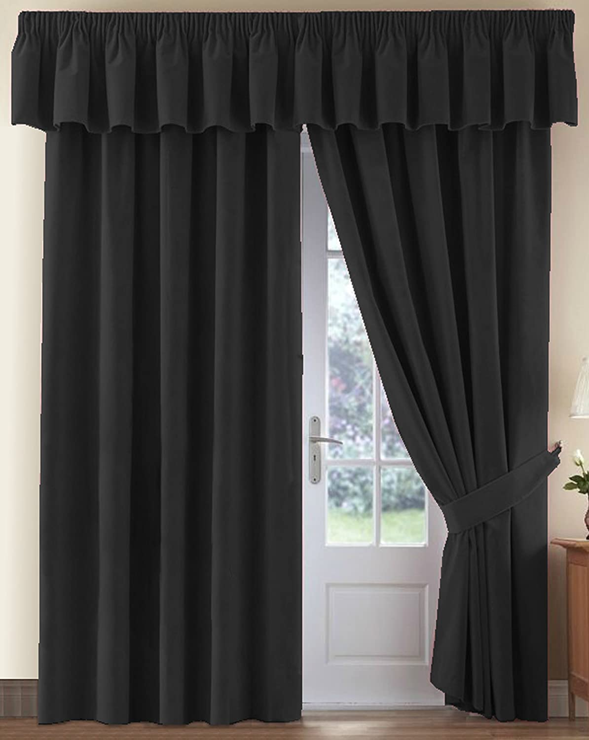 Thermal Velour Velvet Curtains Finished In Black 46 Wide X 72 Drop Amazoncouk Kitchen Home