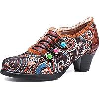 gracosy Cuero Zapatos de Tacón Medio de Mujer, Verano Primavera Fabricados a Mano con un Flores Tamaño 37-42 Rojo Verde…