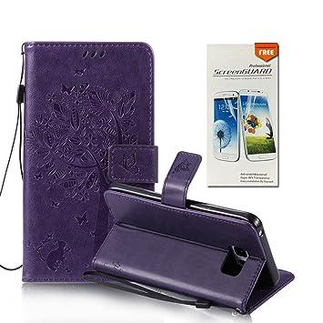 OuDu Funda Samsung Galaxy S6 Edge Plus Carcasa de Billetera Funda PU Cuero para Samsung Galaxy S6 Edge Plus Carcasa Suave Protectora - Púrpura ...