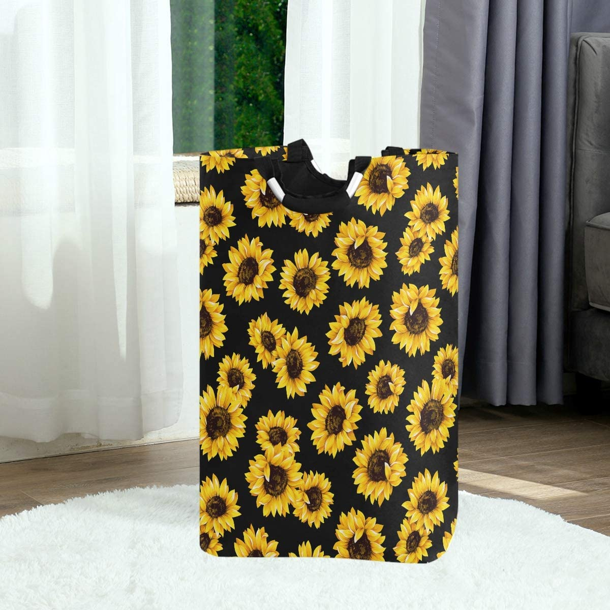 Pfrewn Sunflowers Large Laundry Basket Retro Floral Yellow Flowers Collapsible Laundry Hamper with Handles Waterproof Durable Clothes Washing Bin Dirty Baskets Storage for Home College Dorm Bathroom