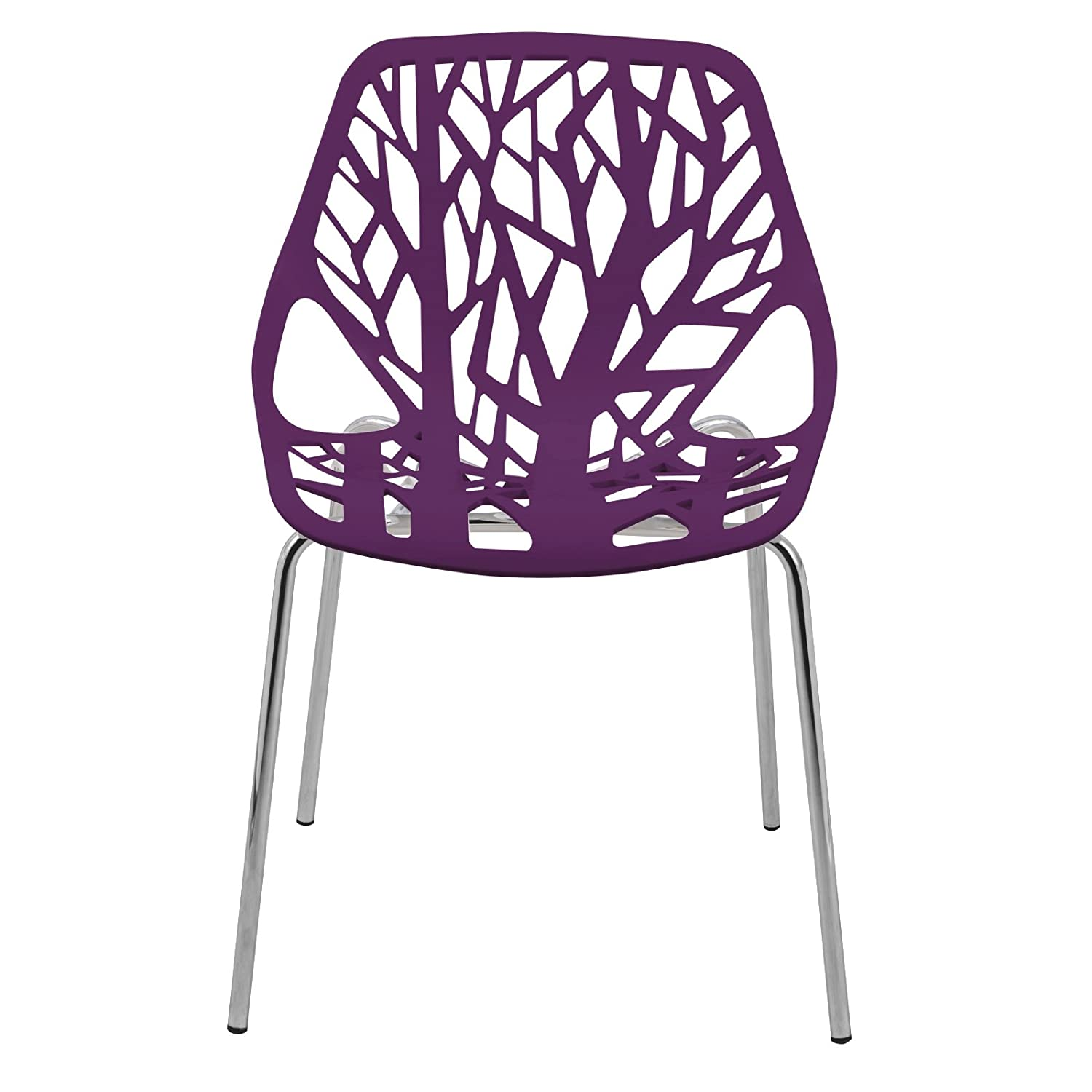 LeisureMod Forest Modern Dining Chair with Chromed Legs, Set of 2 Purple