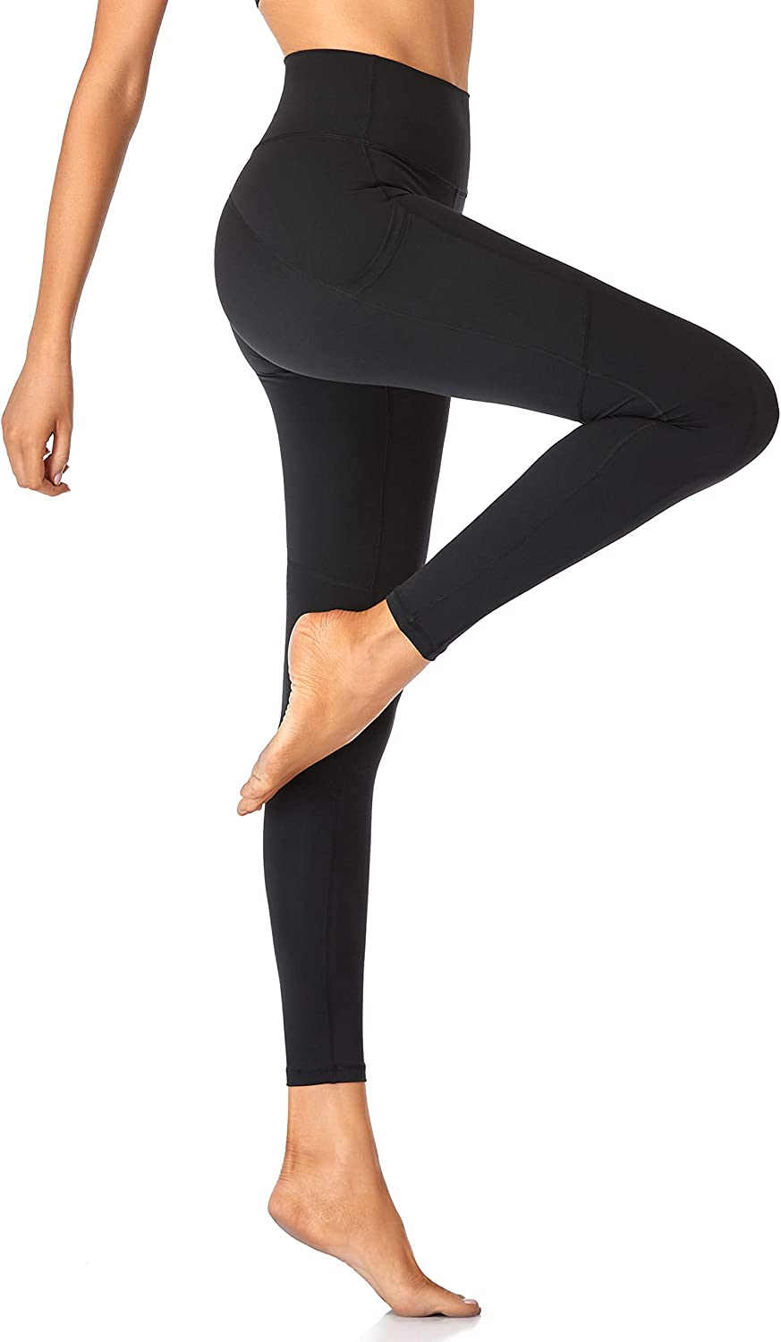 ROMENZA TARGO Womens Leggings with Pockets Tummy Control High Waisted Yoga Pants for Women Workout 4 Way Stretch 25 Inches