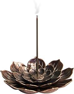 Brass Incense Holder, Lotus Sticks Incense Burner, Detachable Incense Ash Catcher 6 Incense Holes for Home Fragrance Decor, Office, Gifts, Yoga, Bedroom, SPA WD06CO
