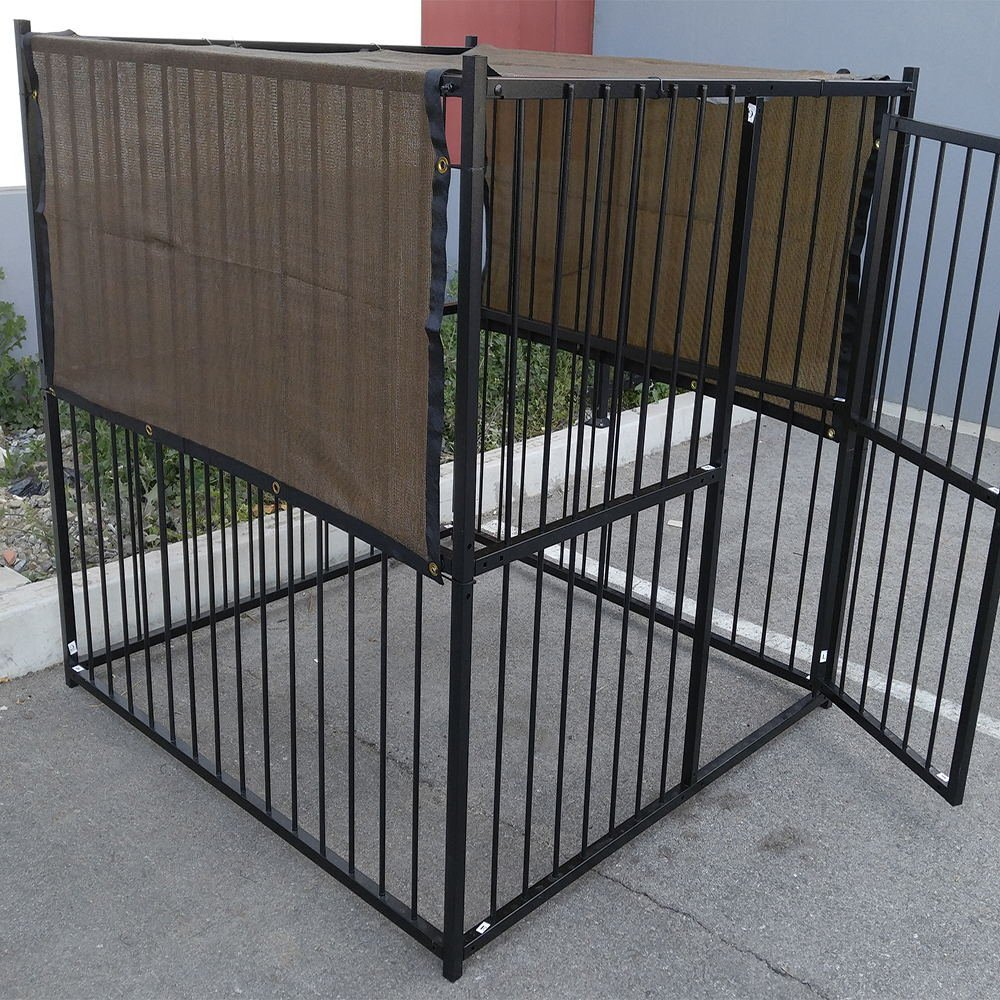 7.5' X 7.5' Dark Brown UV Rated Dog Kennel Shade Cover, Sunblock Shade Panel, Shade Tarp Panel W/Grommets (Not the kennel)