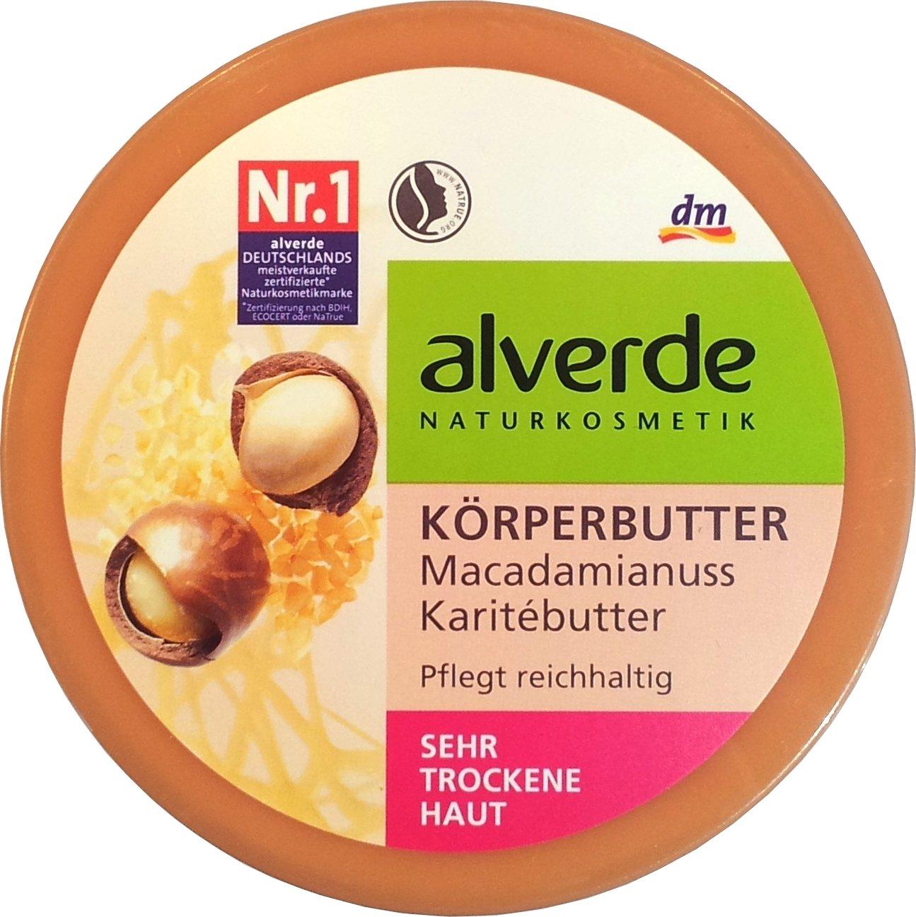 Alverde Macadamia & Karite Cuerpo-Mantequilla - para todos los tipos de piel incluyendo piel seca y sensible - Ingredientes orgánicos certificados/vegan - 200ml Alverde Natural Cosmetics
