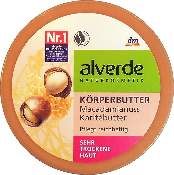 Alverde Macadamia & Karite Cuerpo-Mantequilla - para todos los tipos de piel incluyendo piel seca y sensible - Ingredientes orgánicos certificados/vegan ...