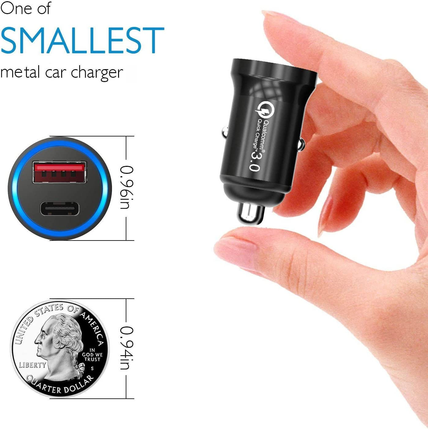 Power Delivery 2.0 with Quick Charger 3.0 Aluminum Alloy Body 36W PD Car Charger Adapter HiGoing USB C Car Charger