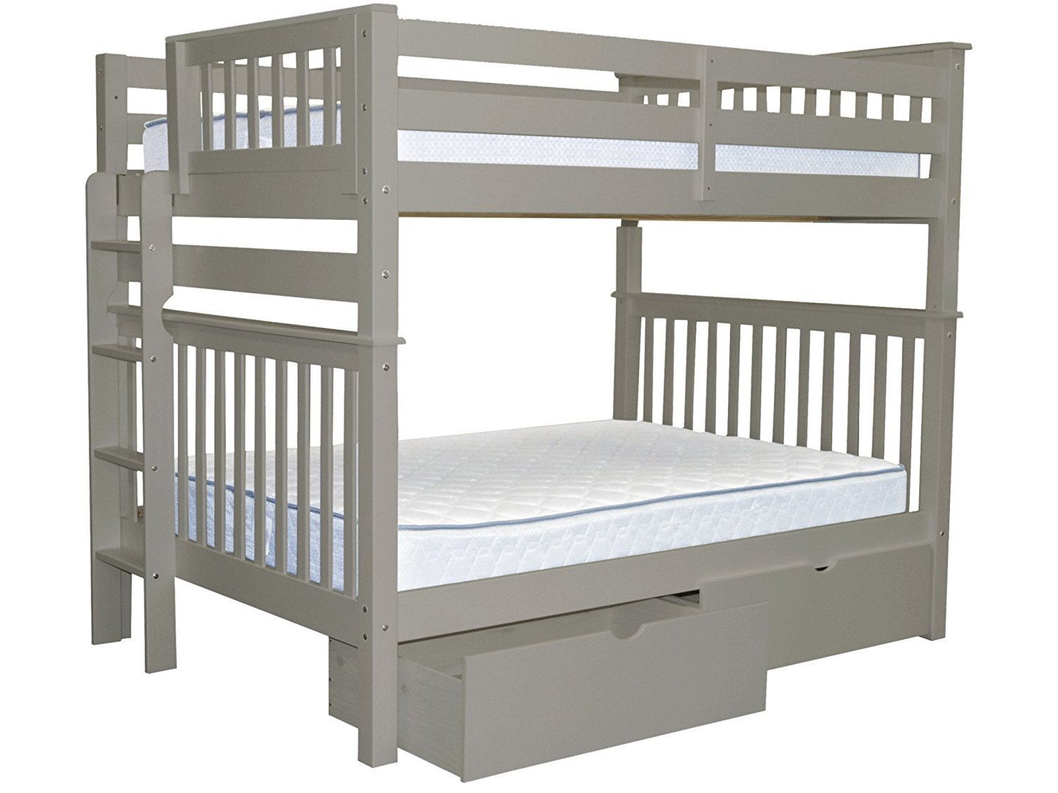 Bedz King Bunk Beds Full Over Full Mission Style With End Ladder And 2 Under Bed Drawers, Gray by Bedz King