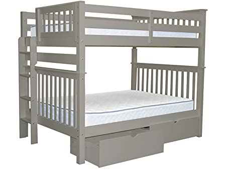 Bedz King Bunk Beds Full over Full Mission Style with End Ladder and 2 Under Bed Drawers, Gray
