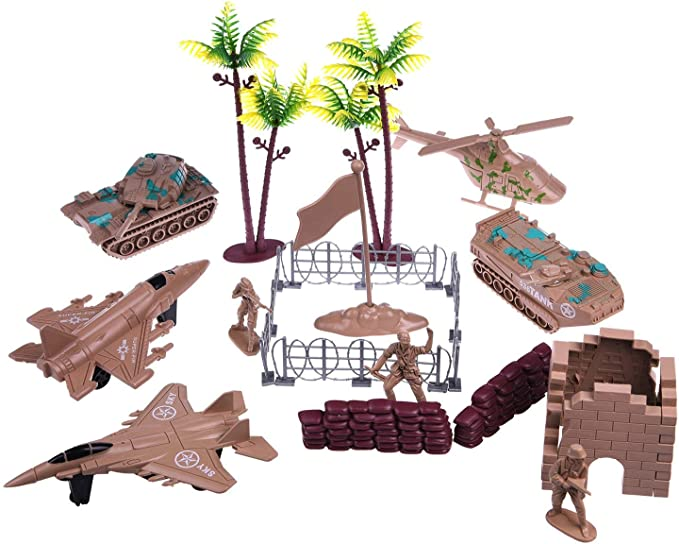 Apipi 260 Pcs Plastic Military Base Set Army Toys Army Men Action Figures Play Set Planes Trucks Flags Soldiers in 4 Color Battlefield Fences Accessories for Party Favor Birthday Gifts