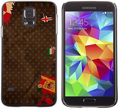 QCASE / Samsung Galaxy S5 SM-G900 / europa España portugal mapa islandia / Delgado Negro Plástico caso cubierta Shell Armor Funda Case Cover: Amazon.es: Electrónica