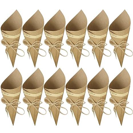 50 Piezas Conos de Arroz para Boda, Bolso boda para confeti o bolsa cucuruchos de papel kraft cono de arroz, cuerda de cáñamo, cinta de doble cara, ...
