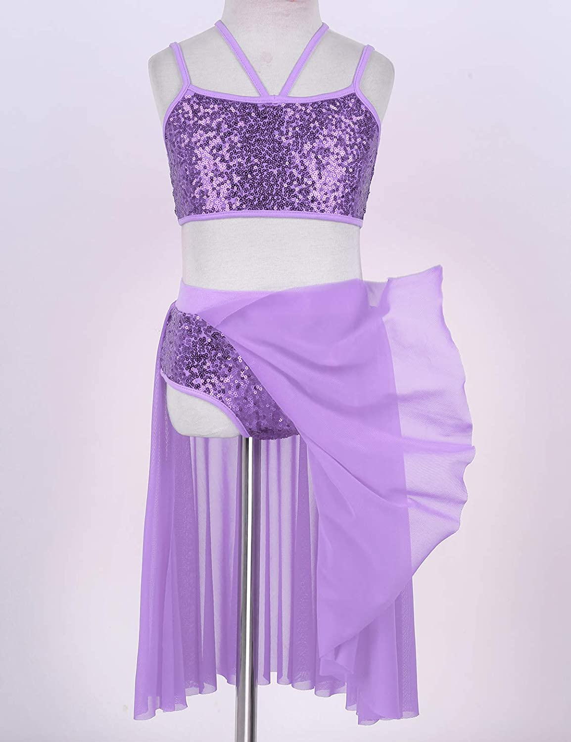 CHICTRY Big Girls Youth Lyrical Costume Asymmetrical Mesh Overlay Sequined Dance Performance Dresses