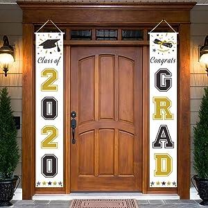 Dazonge Gold and Black Graduation Decorations 2020 | 'Class of 2020' & 'Congrats Grad' Porch Signs for Graduation Party Supplies | Graduation Porch Decor