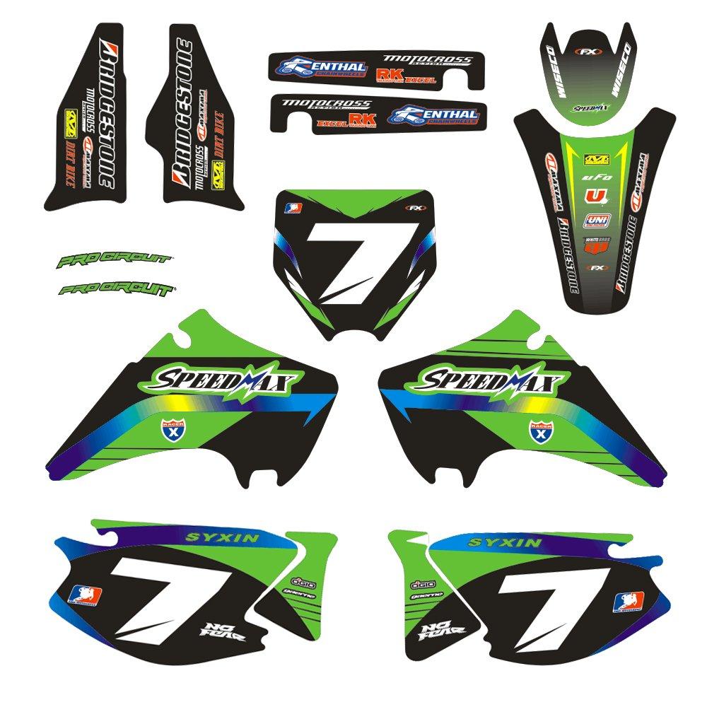 JFG RACING Customize Motorcycle Complete Adhesive Decals Stickers Graphics Kit For 2014-2017 Kawasaki KX450F KXF450
