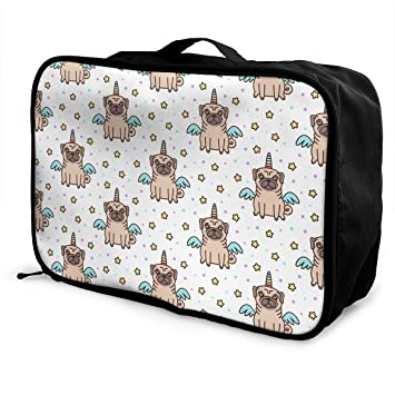 4306fd64e351 Image Unavailable. Image not available for. Color  YyTiin Dog of Pug Breed  in A Unicorn Costume Travel Duffel Bag ...
