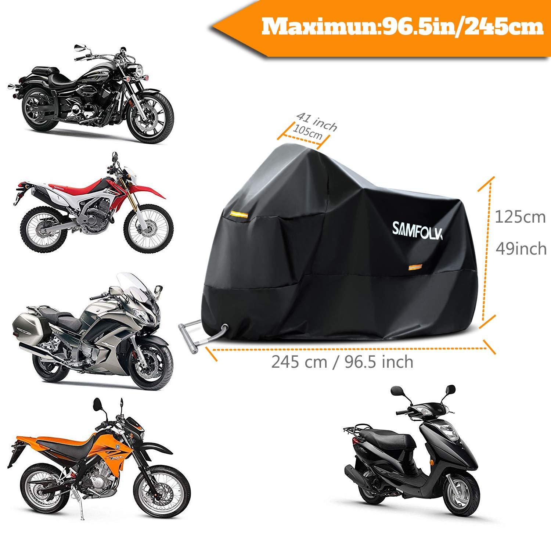 Rouge, M Housse de Protection Moto /& Scooter Samfolk B/âche Moto Couverture Imperm/éable PVC Taille Universelle pour Usage Int/érieur et Ext/érieur