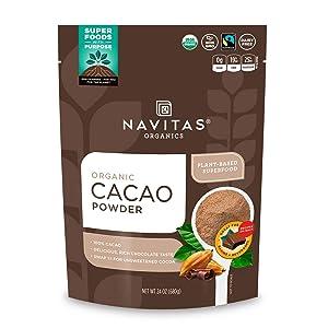 Navitas Organics Cacao Powder, 24 oz. Bag, 45 Servings — Organic, Non-GMO, Fair Trade, Gluten-Free