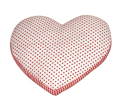 Oscar Home Soft Cotton, Poly-fiber Filling Heart Shaped Pillow with Polka Dots for Kids Material: Cushion-Red, White