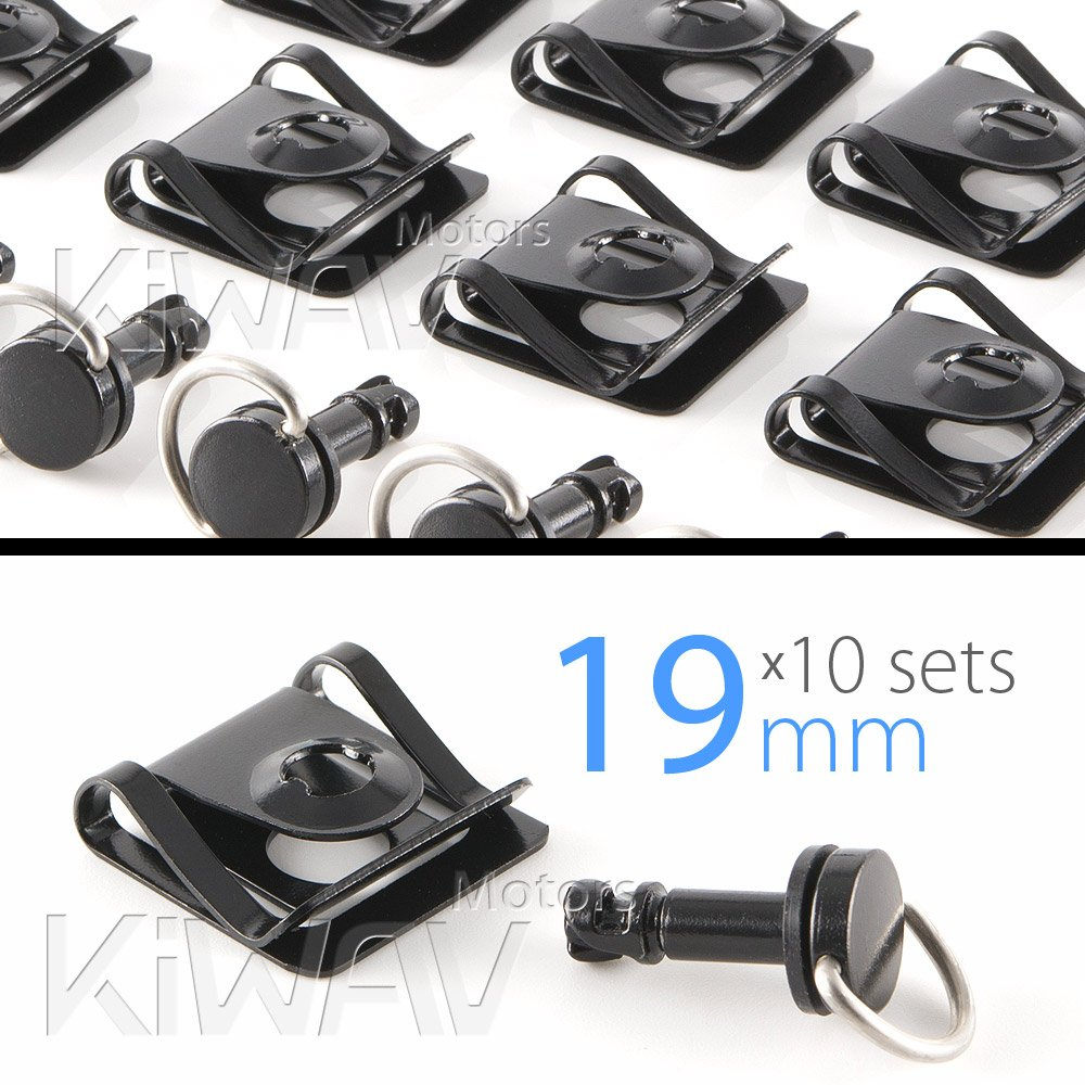 Magazi 1//4 turn Quick Release Fastener Motorcycle Scooter Fairing clip on 19mm 10 Pieces Black