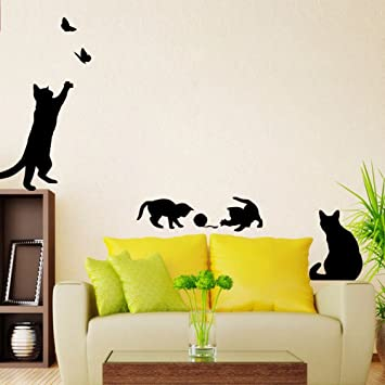 Weaeo Cartoon Creative Gatos Negros Talla De Mariposas De Pared Removible Sticker Kids Habitaciones Escaleras Tatuajes De Pared Mural Adhesivo Ovillo: Amazon.es: Hogar