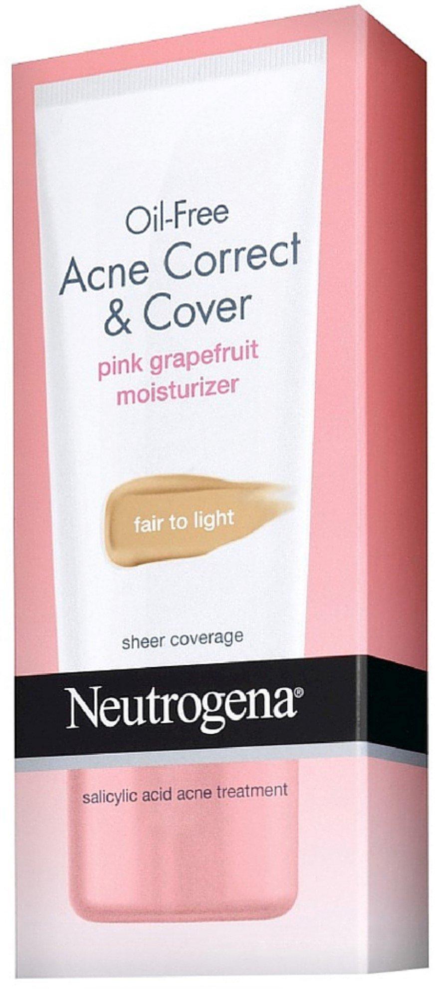 Neutrogena Oil-Free Acne Correct & Cover Pink Grapefruit Moisturizer, Fair to Light 1.7 oz (12 Pack)