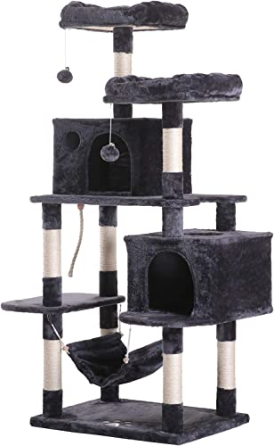 Hey-bro 61.5 Extra Large Multi-Level Cat Tree Condo Furniture with Sisal-Covered Scratching Posts, 2 Bigger Plush Condos, Perch Hammock for Kittens, Cats and Pets