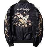 ブルゾン バイクジャケット レザー 刺繍 ミリタリー 横須賀ファッション 中綿入り 和風和柄 パーティー B2018