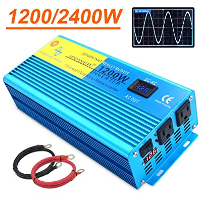 IpowerBingo Pure Sine Wave Power Inverter 1200W/2400W(Peak) 12V DC to 110 V AC with 2 AC Outlets 2 Battery Cables with LCD Display Car Boat Inverter: Automotive