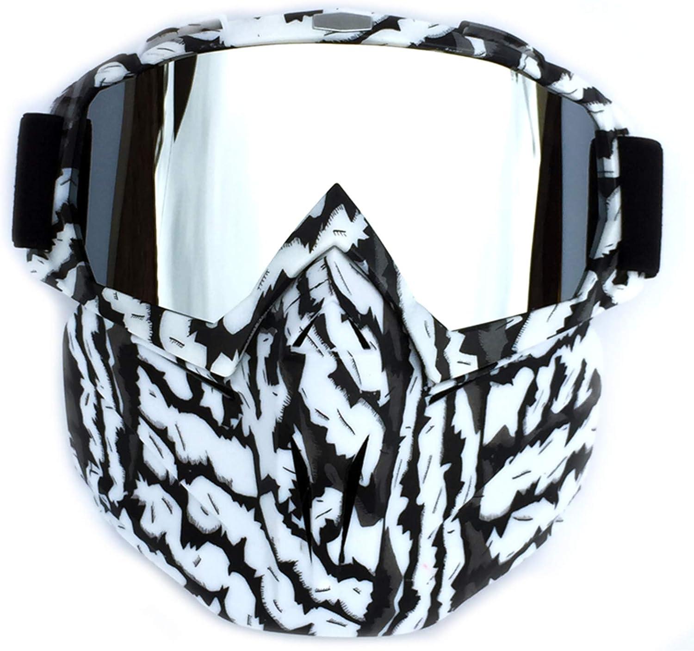 Máscara para gafas de motocicleta con máscara facial extraíble, correa antideslizante ajustable, a prueba de niebla, a prueba de viento, protección UV, gafas de sol, esquí, motos de nieve, gafas