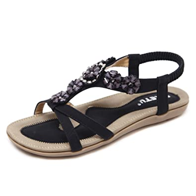 bec201a6fcb DQQ Women s Black Bead Ankle Strap Sandals 6 UK  Amazon.co.uk  Shoes ...