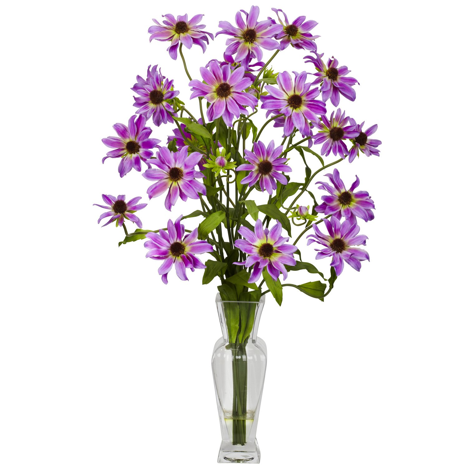 Nearly Natural 1172-PP Cosmos with Vase Silk Flower Arrangement, Purple by Nearly Natural パープル パープル B00BG81B7Q