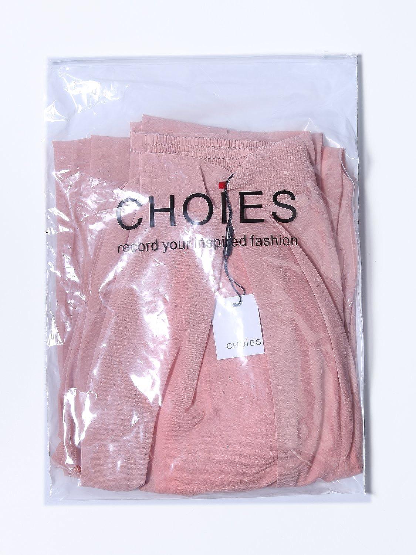 Choies Womens Chiffon Pleated Plain Elastic Waist Wide Leg Palazzo Pants