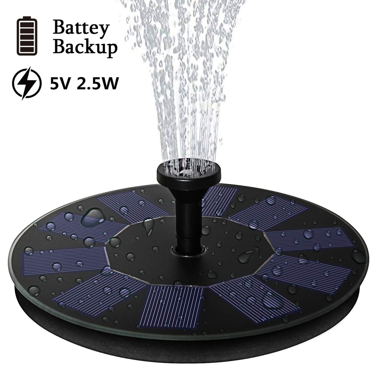 AMYER Solar Fountain, Solar Birdbath Fountain, Solar Powered Fountain Pump with Battery Backup 2.5W Solar Panel kit, Water Fountain Pump for Pool, Pond, Garden, Fish Tank, Aquarium by AMYER