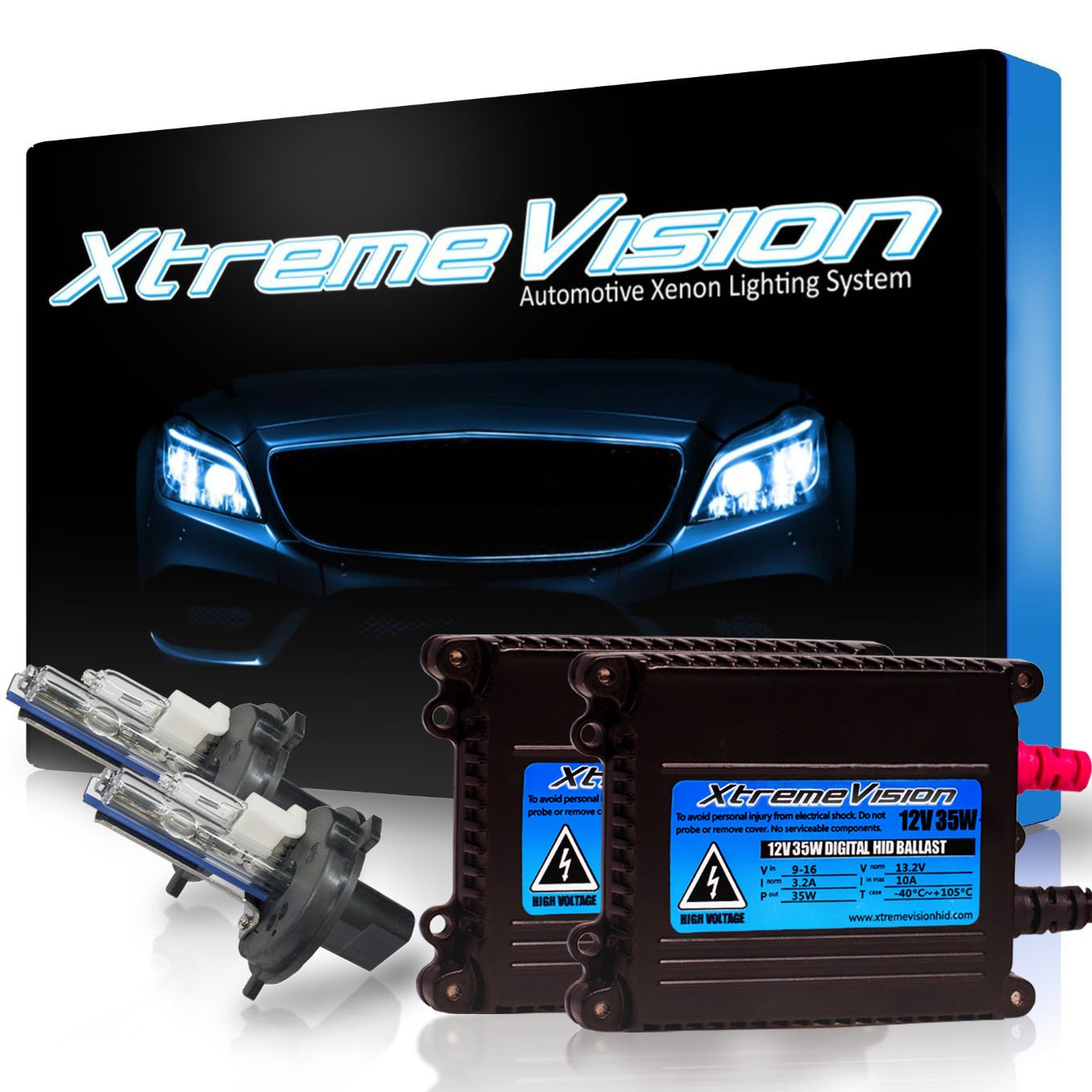 XtremeVision 35W HID Xenon Conversion Kit Premium Slim Ballast - H4 / 9003 3000K - Golden Yellow - 2 Year Warranty by XtremeVision