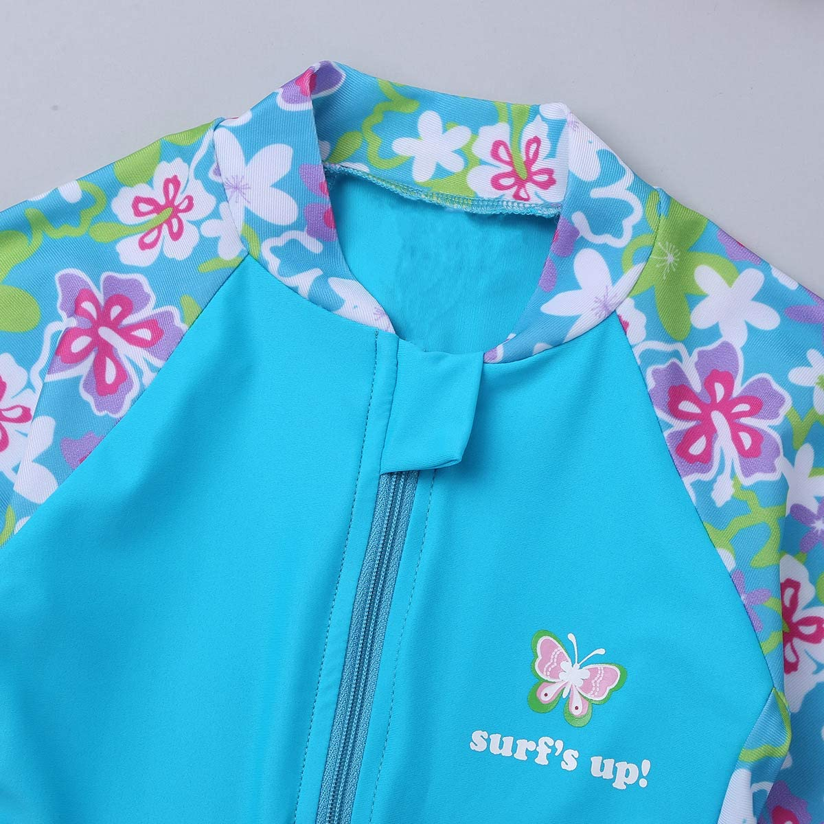 zdhoor Kids Girls One-Piece Long Sleeves Wetsuit Swimsuit Flower Printed Keep Warm Rash Guard Swimwear UPF 50+